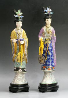 Two (2) Chinese Antique Cloisonne & Ivory Beauties on wood stands, of late Qing or Minguo Period