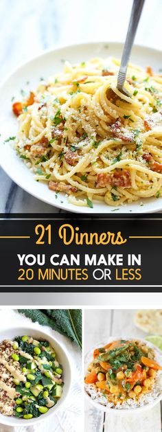 Main Dishes - Weekday Dinners - Meal Planning - Quick Meals - 21 Dinners You Can Make In 20 Minutes Or Less