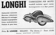 PUBBLICITA'1948 LONGHI MILANO CARROZZINO PER MOTO SIDECAR SPORT CORSA MONOPOSTO | eBay