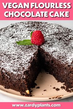 Rich, fudgy, and delicious, this Vegan Flourless Chocolate Cake is gluten-free and also kosher for passover! Made with almond flour and two kinds of chocolate, this lush cake is the perfect feels-fancy dessert that's easy to make at home. Kosher Desserts, Passover Desserts, Fancy Desserts, Summer Desserts, Gluten Free Sweets, Vegan Sweets, Vegan Desserts, Flourless Chocolate Cakes, Chocolate Desserts