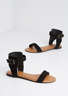 Black Braided Faux Suede Sandal
