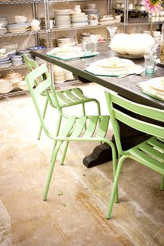 outside chairs Colour Board, Color, Home Again, Vintage Chairs, Wishbone Chair, Future House, Mint Green, Dining Chairs, Spaces