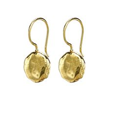 18ct Gold Vermeil Flat Hammered Disc Nomad Earrings, Jewellery - Dower & Hall, London
