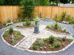 A gravel surround forms the larger patio, with stone/brick paving to define the herb garden at the center. All edges are raised slightly and edged with bricks/stones.