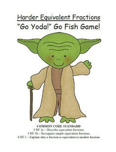 FREEBIE! Go Yoda! Harder Equivalent Fractions Go Fish Card Game at Fern Smith's Classroom Ideas! $0