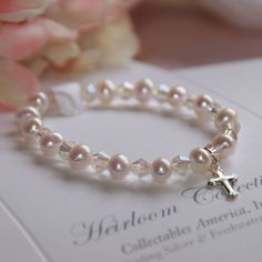 """Freshwater Pearl and Swarovski Crystal Children's Bracelet with Sterling Silver Cross Charm 