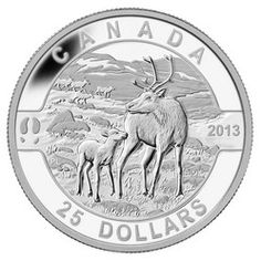 Royal Canadian Mint $25 2013 Fine Silver Coin - O Canada - The Caribou $89.95