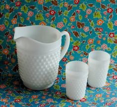 Hob Nail Milk Glass Vintage Pitcher and Two Cups, Polka Dot Pattern