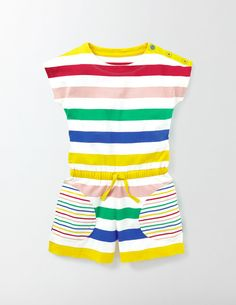 Colourful and practical, this easy-to-wear playsuit is perfect for climbing trees and going on adventures. It has an elastic waist to keep things comfortable and handy pockets for all those little finds you pick up along the way.