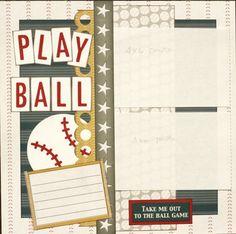 Premade Scrapbook Single Page 12 x 12 Baseball Layout - Play Ball