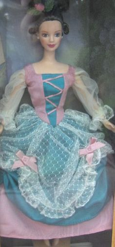 Hallmark Fair Valentine Barbie 1997 Pink Teal and White Lace