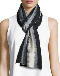 TDH4U Eileen Fisher Shibori Tracks Silk Scarf, Black