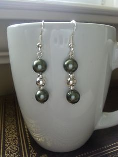 Olive Green Stone Earrings by SparklingYouDesigns on Etsy