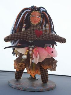 Beaded Art Doll of Country Plaid Cloth
