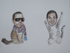 Aziz Ansari and Kanye West as best friend cats. $30.00, via Etsy.