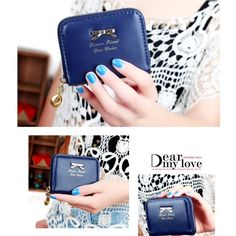 Blue cute pu leather wallet New Bags Wallets