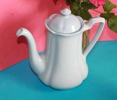 Pastel Blue Coffee Pot by Johnson Brothers Utility Ware Greydawn. Egg Coddler, Cottage Garden Design, Johnson Brothers, Lulu Guinness, Pastel Blue, Tea Pots, Woods, British, War