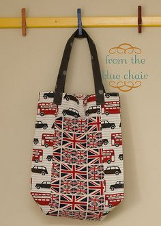 IMG_9239 by from the blue chair, via Flickr. Bag features Next Stop London fabric by Laurie Wisrbun.