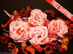 Set of 4 Flower Petal Soap Real looking roses by TheBlackHatDesign