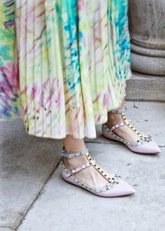 Running on Coffee | Studs + Florals, Valentino Rockstud Watercolor Colorblock Flats