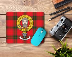 Rubber mousepad with MacNab clan crest and tartan - only from ScotClans