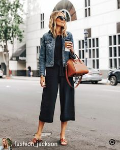 Fashion Jackson Everlane Black Jumpsuit Denim Jacket Brown Sandals Brown Tote 1 Check more at moda.s… - Fashion Jackson Everlane Black Jumpsuit Denim Jacket Brown Sandals Brown Tote 1 . Jumpsuit Denim, Black Jumpsuit Outfit, Black Romper, Jumpsuit Style, Midi Skirt Outfit, Black Culottes Outfit Casual, Culotte Jumpsuit Outfit, Black Jumper Outfit, Black Tshirt Dress