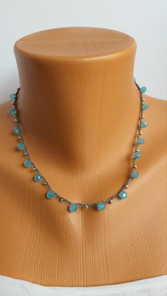 Hand Crocheted Aqua/Blue Glass Beads Silver Seed Beads Waxed Nylon Cord Necklace by BEEDZnBAGZ by BEEDZnBAGZ on Etsy