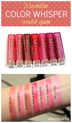 Maybelline Color Whisper Swatches   Pin Up Peach, Pink Possibilities, Made It Mauve, Who Wore It Red-er, Faint For Fuchsia, Mad For Magenta & Oh La Lilac