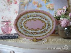 Pink Sevres Floral Platter/Tray for Dollhouse by ALavenderDilly