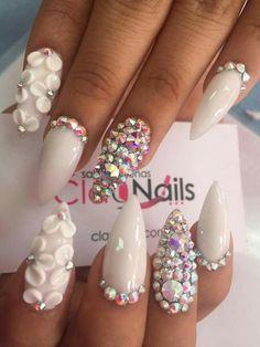 Diy fake nails new white nail art flowers coffin acrylic nails Rhinestone Nails, Bling Nails, 3d Nails, Acrylic Nails, Glam Nails, Gel Nail, Beauty Nails, Fabulous Nails, Gorgeous Nails