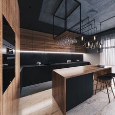 32 Amazing Modern Wood Kitchen Design Ideas - Unless you plan to spend the rest of your life in your current home if you are planning a kitchen makeover then best advice is not only to think about. Kitchen Room Design, Modern Kitchen Design, Home Decor Kitchen, Interior Design Kitchen, Kitchen Ideas, Loft Kitchen, Apartment Kitchen, Apartment Interior, Kitchen Island