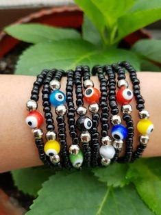 Evil Eye Bracelet Protection stretch bracelet evil eye   Etsy Eye Jewelry, Women Jewelry, Stretch Bracelets, Beaded Bracelets, Turkish Jewelry, Evil Eye Bracelet, Glass Beads, Gemstones, Eyes