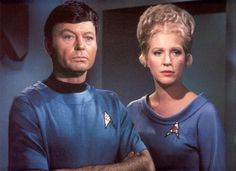 Dr. ''Bones'' McCoy and nurse Christine Chapel ; (Star Trek) source: http://www.fanpop.com/clubs/spock-and-christine-chapel/images/7833124/title/doctor-nurse-chapel-photo