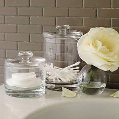 Innovative  Bathroom Bath And Shower Accessories Glass Bathroom Storage Jar Small