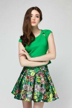 European summer raglan-sleeved T-shirt + high waist printing skirts suits Wholesale $26.80