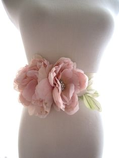 Blush Silk Flower Peony Bridal Sash, Bridal Belt, Rhinestone Wedding Belt on Etsy, £81.63