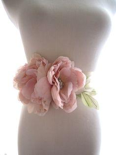 Blush Silk Flower Peony Bridal Sash Bridal by abigailgracebridal, $120.00