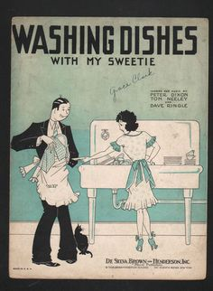 """Washing Dishes with My Sweetie"" ~ 1930 Sheet music cover."
