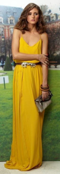 Olivia Palermo - Love this yellow Tibi maxi dress, and the high waisted belt <3