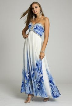 Long Dresses - Floral Print Dress with Beaded Empire Silhouette from Camille La Vie and Group USA