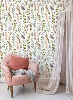 Colorful leaves - removable wallpaper - white wall mural | Reusable wallpaper | self adhesive peel&stick wallpaper #82