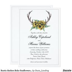 Rustic Antlers Boho Sunflowers Floral Wedding Card - With enchanting rustic boho style, this wedding invitation design features deer horns beautifully embellished with a cheerful sunflower bouquet. A thin silver lined border completes the design. This invitation is a lovely choice for weddings in any season of the year. Sold at Oasis_Landing on Zazzle.