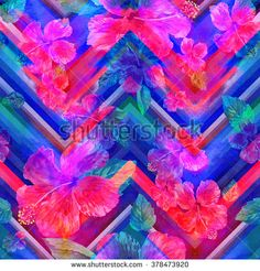 Blue floral pattern on a zig zag beckround. Chevron watercolor zig zag pattern…