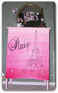dresser in pink ombre with stenciling, studded Eiffel Tower, and chalkboard drawer fronts