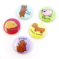 Awesome Animals Button Set by sugarcookie on Etsy, $9.00 #etsy #button #badge #pin #animals #words #awesome #indie