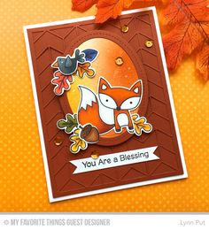 Fall Friends Stamp Set and Die-namics, Split Chevron Cover-Up Die-namics, Single Stitch Line Oval Frames Die-namics - Lynn Put  #mftstamps