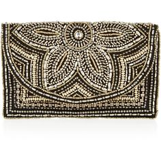 Accessorize Tilly Embellished Clutch Bag ($39) ❤ liked on Polyvore featuring bags, handbags, clutches, floral purse, floral handbags, brown purse, chain handle handbags and beaded clutches