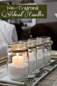 Traditional Advent Candles Mason jars, Epsom salts, twine and candles. Perfect for an outdoor evening party!Mason jars, Epsom salts, twine and candles. Perfect for an outdoor evening party! Advent Candles, Christmas Candles, Diy Candles, Rustic Christmas, Christmas Home, White Christmas, Candle Jars, Christmas Crafts, Flameless Candles