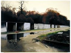 This George Shaw painting is of the way I used to walk home from school. Past the garages and then through the woods..every day...