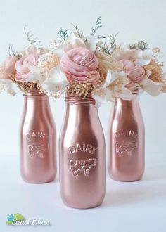 Items similar to Copper milk bottles / centerpiece / table decor / party decor / baby shower decor / rose gold decor / vase / kitchen decor / pink on Etsy - Copper Painted Milk Bottles Baby Shower Decor by BeachBluesBaby - Milk Bottle Centerpiece, Centerpiece Table, Baby Shower Centerpieces, Mason Jar Crafts, Bottle Crafts, Mason Jars, Glass Bottles, Copper Paint, Rose Gold Decor